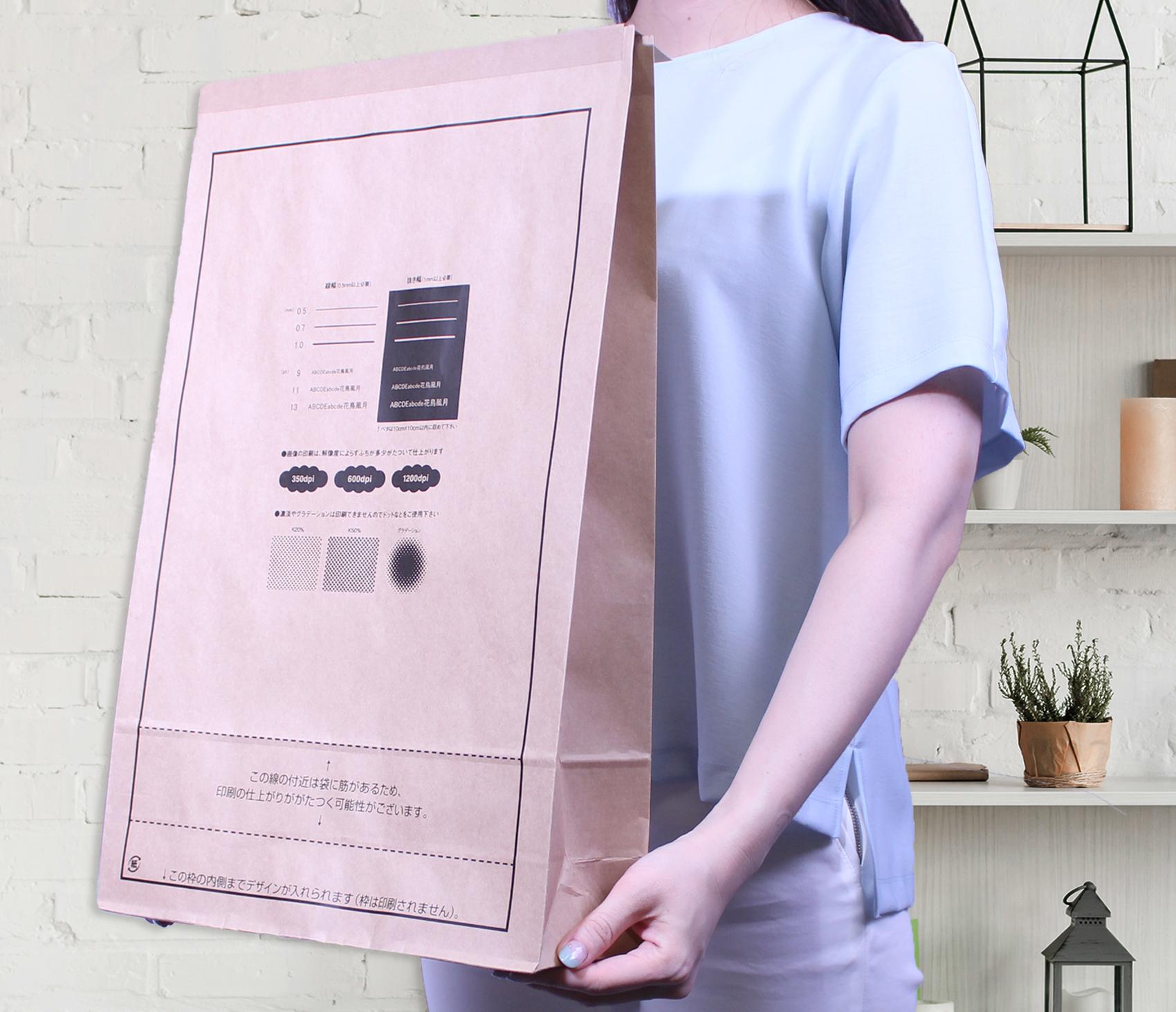 ワンポイント宅配紙袋(片艶晒クラフト)Lサイズのサンプルイメージ画像2
